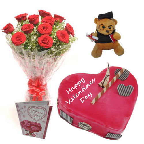 Cake Musical Teddy with Roses Bouquet