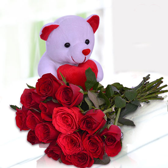 Teddy Greeting Card with Rose Bunch