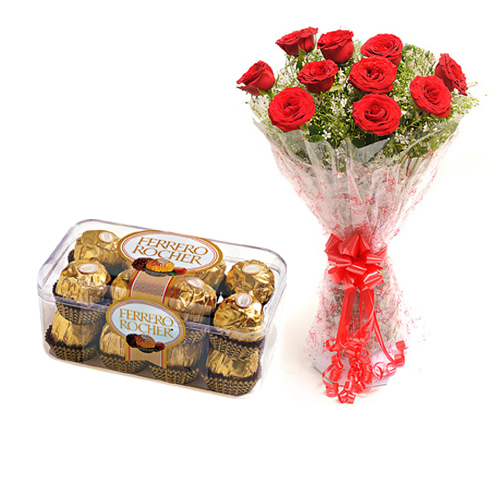 15 Roses Bunch  Card with Ferrero Rocher