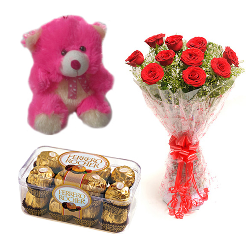 Roses Bunch  Ferrero Rocher  Card with Teddy