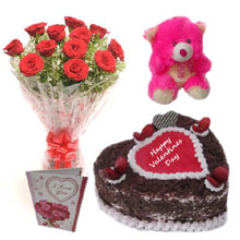 Cake Teddy with Roses Bouquet